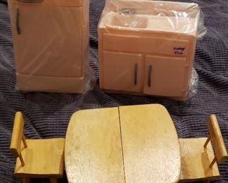Vintage Mid Century Modern Strombecker Doll' Table & Chair, Vintage Pink Tico Refrigerator and Sink