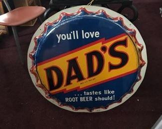 """Rare Original 1950s Dad's Root Beer Single-sided die-cut Tin Bottle Cap Sign 29"""" x 29"""" x2"""""""
