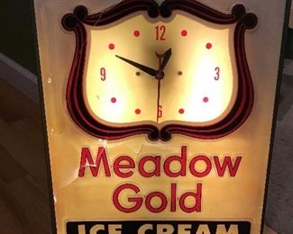 Vintage Meadow Gold Ice Cream Light Up Sign Clock
