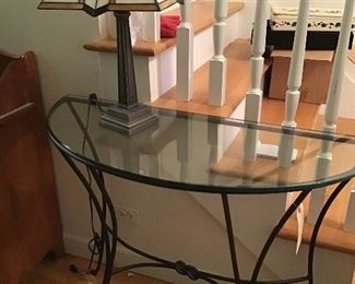 Wrought Iron and Glass Table - Tiffany Like Lamp