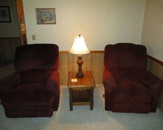 Matching recliners, and table and table lamp