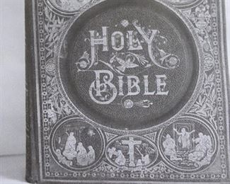 Antique 1892 Cover Page Victorian Family Pictorial Holy Bible