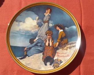 Waiting on the Shore by Norman Rockwell, Edwin M Knowles Collector Plate