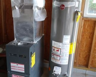 Gas Furnace 40,000 BTU; and 40 gallon  Hot water tank (Gas)