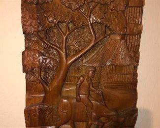 Thai teak wood carving