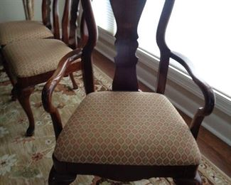 closeup of the dining room chairs