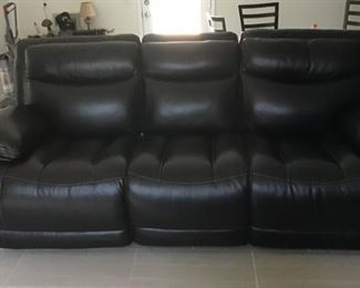 Leather Stadium Couch  Electric( recliners) 2 ends recline,( center doesn't)     $ 750
