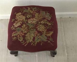 Antique Needlepoint Footstool