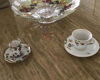 Vintage Fruit Bowl & Demitasse cups & saucers