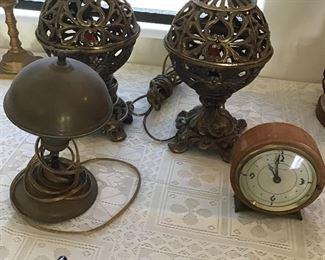 Pr. Filigree Brass Lamps, Seth Thomas Clock