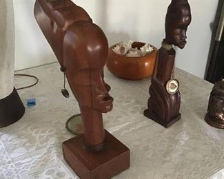 Carved Wood Africian Heads