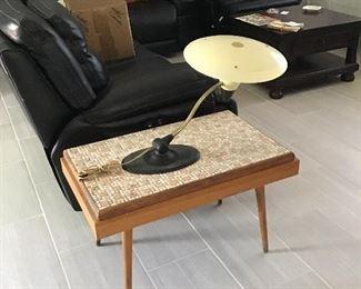 Mid-Century Tile Table, Mid-Century Mushroom lamp with fiberglass frame