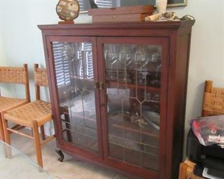 antique leaded glass front cabinet