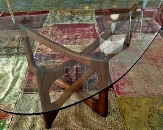 Mid Century Modern Adrian Pearsall Walnut and Glass Coffee Table