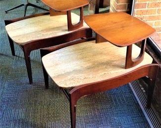 1970 Bertha Schaefer  Walnut and Travertine End Tables