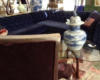 Chesterfield Blue Velvet Sectional