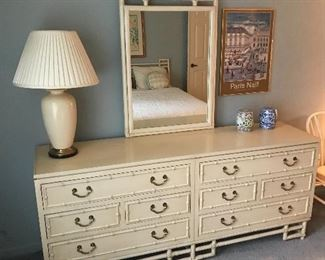 Ficks Reed 6 drawer dresser with matching mirror!