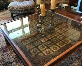 """Mesquite and brass 50""""x50"""" glass topped cocktail table"""