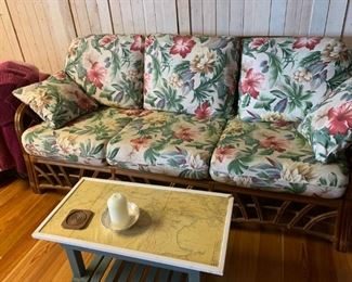 This sofa for a seasonal room is in beautiful condition.