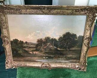 """William Frederick Hulk (British 1852-1906). English Village Oil on Canvas. 25"""" wide x 17"""" high."""