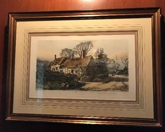 """Wilfred Ball (English, 1853-1917) Hand Colored Etching """"Anne Hathway's Cottage"""", dated 1887. Publish by Robert Dunthorne, London."""