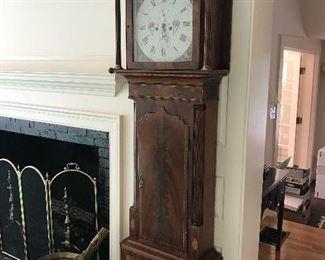 "James Coats circa 1800-1811 Tall Case Clock with Mahogany case. 24 3/8"" wide x 87"" high x 10 1/3"" diameter"
