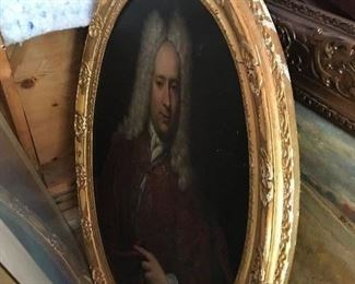 Oval English Oil Portrait of Lord. Artist unknown. Probably English early 18th century