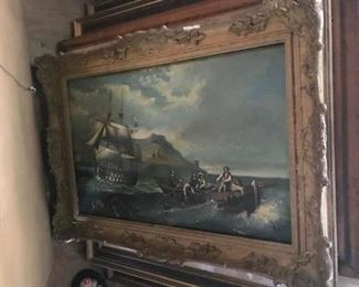 """Marine Oil Painting on Board. Unsigned Belgium late 19th century 21.5"""" x 13.5"""""""