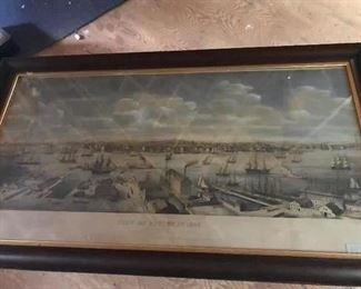 """C. Burton Hand Colored Engraving """"View of Boston Harbor 1848"""" by E Whitefield"""