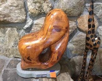 Wood carving on base, Navarre artist