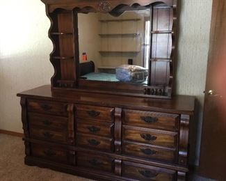 Dresser with curio top and mirror
