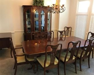 Keller Dining room set includes: Table with 2 leaves, 10 chairs, Buffet Server and China Cabinet/Hutch