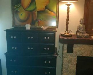 5 drawer, painted chest. Framed, modern art.