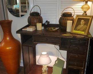 Antique jewelers desk, lamps, mirror, large floor vase.