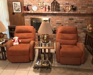 Matching recliners, glass top tables, lamps