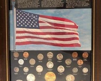 25 coins of the 20th century. + First moon landing July 1969 medal!!