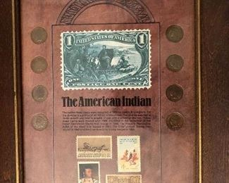 8 Indian head pennies and commemorative US postage stamps