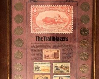 14 Buffalo nickels plus 5 commemorative US postage stamps