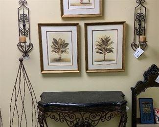 Iron console Set of 3 framed, reproduction botanical prints