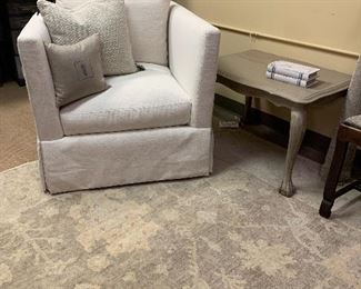 Upholstered club chair, Lee Industries  New, never used neutral oriental rug Painted cocktail table