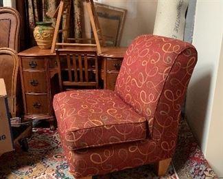 Oriental style rug Armless club chair