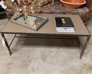 Iron coffee table  Mirrored tray