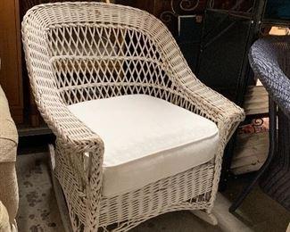 Antique wicker rocker w cushion