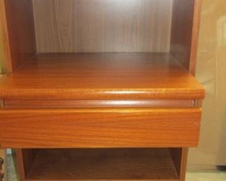 THERE ARE 2 OF THESE.. 2 END TABLE/NIGHT STANDS FOR A 5 PC. NATURAL COLOR QUEEN SIZE FUTON BED AND 2 NIGHT STANDS, STORAGE UNIT, AND A DISPLAY UNIT AND STORAGE IN 2 DRAWERS..