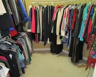 LOTS OF VERY VERY NICE LADIES CLOTHING.. SHORTS, SLACKS, SHELL TOPS, DRESSY CLOTHES, EVENING WARE, BLOUSES, JACKETS AND THE LIST GOES ON.. COME BY SOON