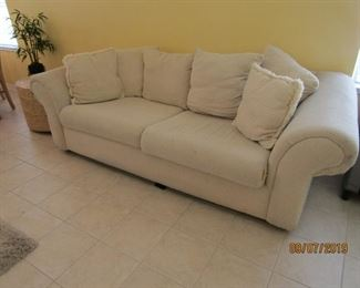 THIS SOFA IS FREE.. JUST CALL AND MAKE SURE THAT WE WILL BE AT THE HOUSE SO YOU CAN COME BY AND PICK IT UP.. IT IS A SOFA BED AS WELL.  IT NEEDS SOME UPHOLSTERY WORK OR SOME STITCHING HERE AND THERE... IT IS YOUR.. FREE