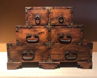 Antique Wooden Jewelry Chest