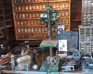 drill press, scroll saw, jig saws, miter saw, bench grinder