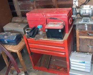 tool boxes, bench grinder