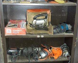 hand sanders, drills, circular saw, grinder